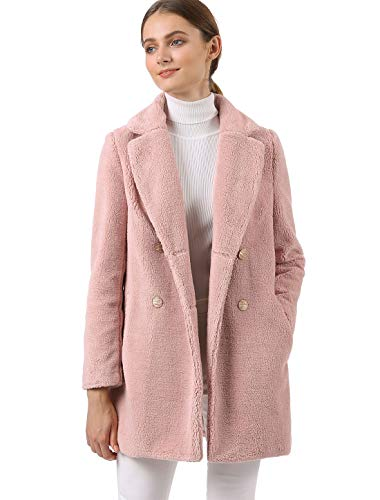 Allegra K Women's Double Breasted Notched Lapel Plush Coat M Pink (Notched Fur Collar Coat)