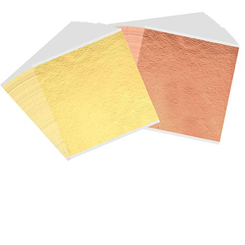 200 Sheets Imitation Gold Leaf Sheet Foil Paper for Slime, Gilding Paint, Arts, Crafting, Decoration, Makeup, 5.5 by 5.5 Inches-Gold and Rose - Leaf Gold Imitation