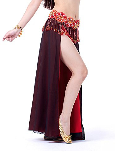 Bollywood Costume Party Ideas (AvaCostume Bollywood Arabic Dance Costume Sides Split Long Skirt, Black Red)