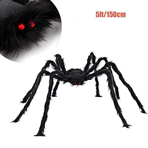 (Halloween Spider Decoration Outdoor Halloween Decorations Hairy Spider Spider Web decorations with Stretch fake spider web Set indoor Decorations Supplies Party Yard Decor (60 INCH Spider))