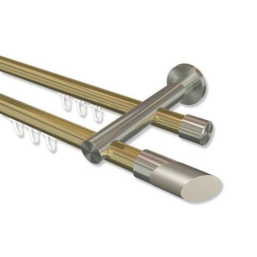Interdeco Innenlauf Gardinenstange Messing-Optik   Edelstahl-Optik 20 mm Ø 2-läufig Platon Verano, 440 cm