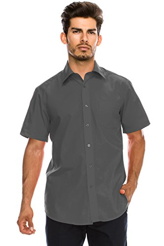 JC DISTRO Men's Regular-Fit Solid Color Short Sleeve Dress Shirt, Charcoal Shirts (3XL) by JC DISTRO