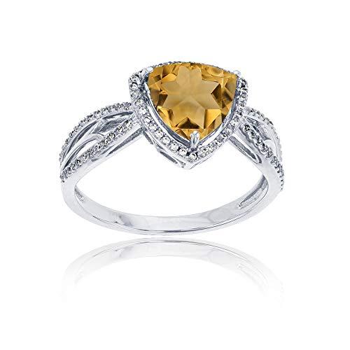 14K White Gold 0.20 CTTW Round Diamond & 8mm Trillion Citrine Split Shank Ring
