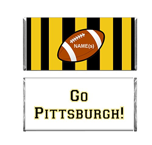 Personalized Custom Pittsburgh Football WRAPPERS and Foils for Chocolate Candy Bars Set of 24 -