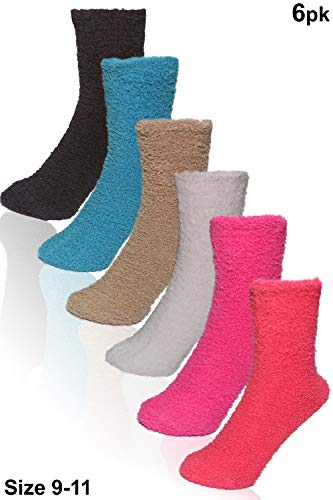 Basico -Valentine's Day Gift - Soft Warm Microfiber Fuzzy Winter Socks Crew 6 Pairs, New Solid , Shoe size 5 to 11