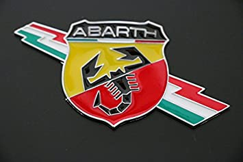 "FREGIO STEMMA TARGHETTA LOGO ADESIVO FIAT ""ABARTH"" METALLO EFFETTO"