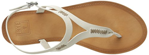 Frye Womens Ruth Whipstitch Platte Sandaal Wit-73768