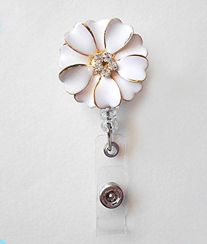 LOVEKITTY ® - Rhinestone White Alloy Flower Retractable - Nursing Name Badge Holder