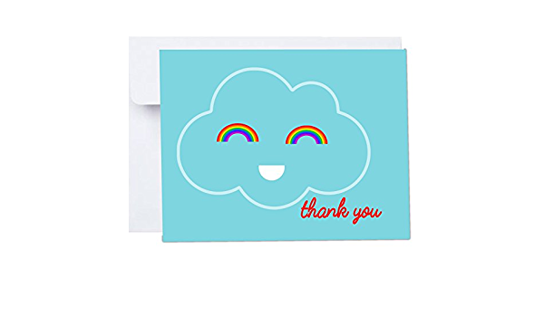 Travel Weddings Happy Cloud Thank You Cards with Envelopes 10 Pack A2 Folded 4x5.25 in Blue Red Rainbows First Birthdays Adventure Awaits
