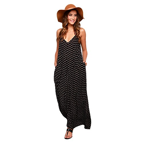 08110b424f70 SODIAL(R) Women's New Summer Dress Fashion Sexy Long Dress Strapless Polka  Dot Loose
