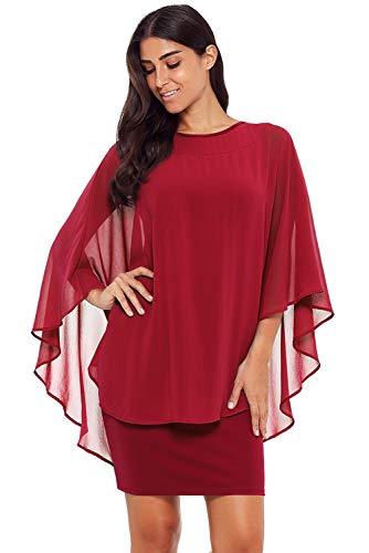 Lucklovell Women Sexy Slinky Sexy Gauze Cape Mini Dress ((US 16-18) XL, Wine)