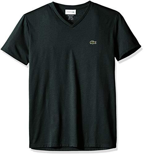 (Lacoste Men's Short Sleeve V Neck Pima Jersey T-Shirt, TH6710, pin Moline Large)