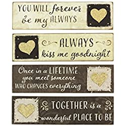 """Young's 4 Piece Wood Table Top Sign Set, 7.25"""""""