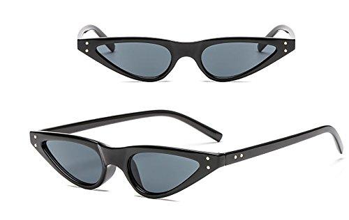 Potencia de Sol Flujo Black black de Gafas Gafas Gato Sol el de Gafas Retro de Ojo Triangle Sol de xw7nvq157