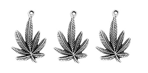 PlanetZia 5pcs Cannibus Marijuana Weed Pot Leaf Charm/Pendant USA Made For Jewelry Making MJ-251 (Antique Silver)