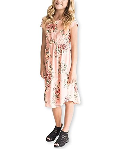 Girls Floral Maxi Dress Kids Summer Casual Pocket Pink Short Sleeve Tshirt for Girls 6-12