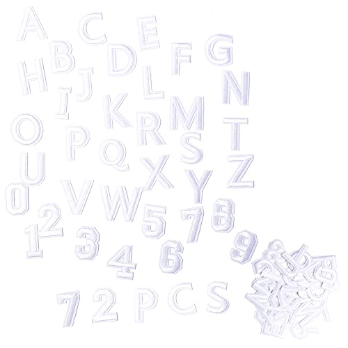 Harsgs 72 PCS Iron on Letters Numbers Patches, Embroidered Patches Letters A-Z Numbers 0-9 Applique for Clothes, Dress, Hat, Jeans, DIY Accessories, White