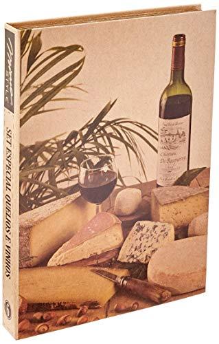 Set Especial Queijo/Vinhos 4 Peças Mimo Style Bege/Prata