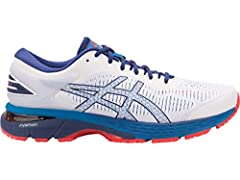 Designed for a lightweight ride, the GEL-KAYANO 25 men's running shoe guarantees high level comfort and stability. FLYTEFOAM technology employs organic super fibers that resist compression, providing enduring bounce on even the longest runs. ...