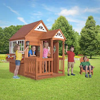 Backyard Discovery Deluxe Cedar Mansion Playhouse assembly required
