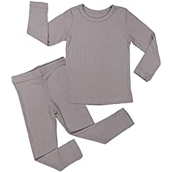 AVAUMA Baby Boy Girl Long Sleeve Ribbed Pajamas Set Snug-Fit Fall Winter Pjs Sleepwear Kids Toddler (X-Small/Cocoa(L))