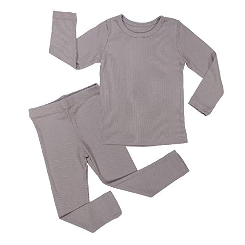 AVAUMA Baby Boy Girl Long Sleeve Ribbed Pajamas Set Snug-Fit Fall Winter Pjs Sleepwear Kids Toddler (X-Small / 6-12 Months, Cocoa(L)) ()