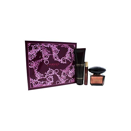 Versace Crystal Noir Edt 3 oz/ 90 ml + SG 5 oz / 150 ml + roller ball Mini WOMEN (Gel Crystal Noir Shower)