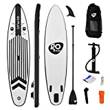 COSTWAY 11ft/12.5ft Inflatable Stand Up Paddle Board, Lightweight iSUP with Adjustable Paddle, Carry Bag, Bottom Fin, Hand Pump, Non-Slip Deck, Repair Kit, for Youth and Adult (11ft BLACK WHITE)