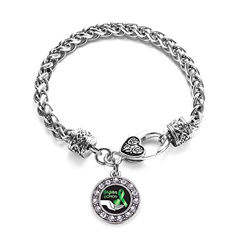 Inspired Silver Organ Donor Circle Charm Braided Bracelet Silver Plated with Crystal Rhinestones