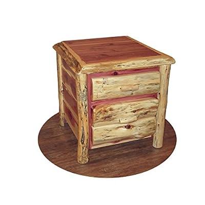 Kunkle Holdings LLC RUSTIC RED CEDAR LOG NIGHTSTAND/END TABLE - 2 DRAWERS