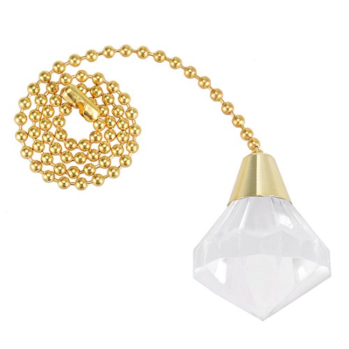 Acrylic Pull Chain - uxcell 12 inch Brass Pull Chain Acrylic Clear Diamond Pendant Ceiling Lighting Fan Decorative