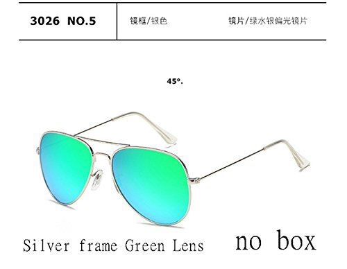 2017 Fashion sunglasses Men women Large frame Anti-glare aviator aviation sunglasses driving UV400,Silver Frame Green - Lentes Ford Tom