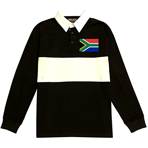 South Africa Flag Country Chest Long Sleeve Polo Rugby Shirt X-Large Black by Kings Of NY