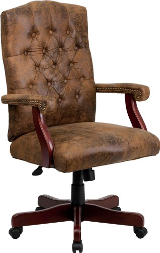 Bomber Brown Classic Executive Swivel Chair with (High Back Brown Bomber)