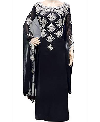 ver Work and Crystal Stone Designer Dubai Kaftan Black Abaya Jalabiya Hand Work Beaded Dress (2XL) ()