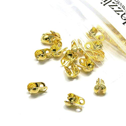 100 Side Fold Clamshell Bead End Tips with Double Loop Hide Knots & Crimp Beads (Gold Plated)