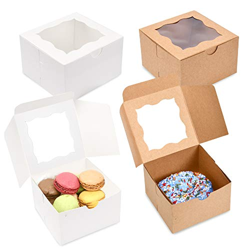 {Pack of 50} White Bakery Boxes with Window 4x4x2.5