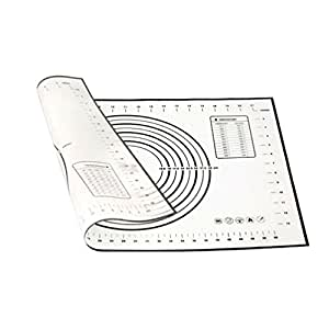 KingMas Kitchen Dough Kneading Tool Soft Porcelain Silicone Pastry Mat With Measurements (Large)