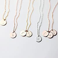 Delicate Initial Disc Necklace Rose Gold Initial Necklace Best Friend Personalized Bridesmaid Gift - CN