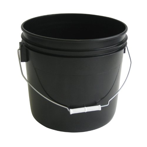 3.5 Gallon Heavy Duty Black Plastic Bucket, 10-Pack - Argee -