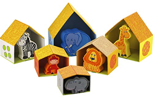 HABA Peekaboo Zoo - Nesting & Stacking Matching Game with 6 Sturdy Cardboard Houses & 6 Wood Animals