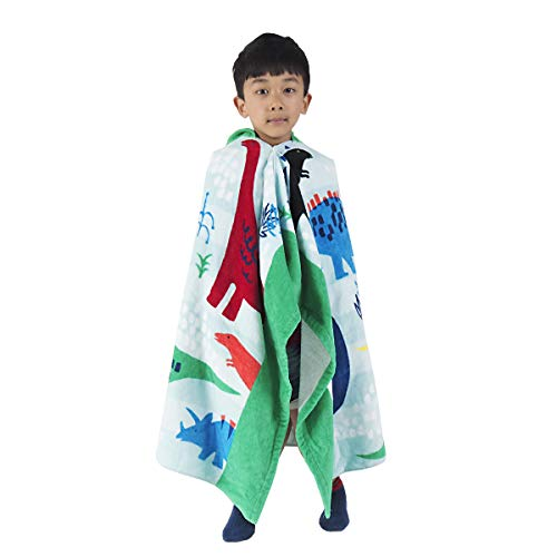 HOMFREEST Dinosaur Kids Hooded Towel for Age 3-7 Years Kids Beach Towel Soft Baby Bath Towel Multi-use for Bath/Pool/Beach/Swim Absorbent Fade Resistant 100% Cotton Kids Hooded Poncho Bathrobe