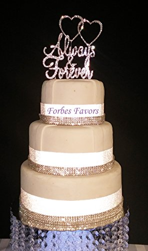 Forbes Favors Real Rhinestone Always and Forever with Double Hearts Silver Wedding Love Cake Topper