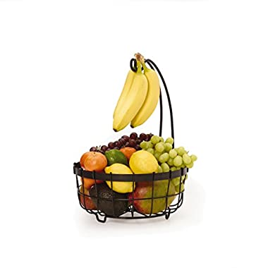 Gourmet Basics by Mikasa General Store Center Piece Basket with Banana Hook, Antique Black