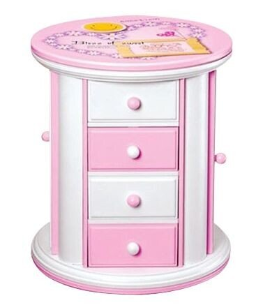 Floral Music Jewelry Box (Girls Music Jewelry Box with Pullout Drawer, Pink Carton Design Musical Box Gift For Christmas/Flower)