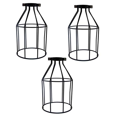 - MKLOT Lighting Metal Lamp Guard for Pendant String Lights Vintage Lamp Holders Industrial Chandelier Ceiling Fixture Lamp Shade Iron Wire Bottle Shape, 3 Pack/Lot