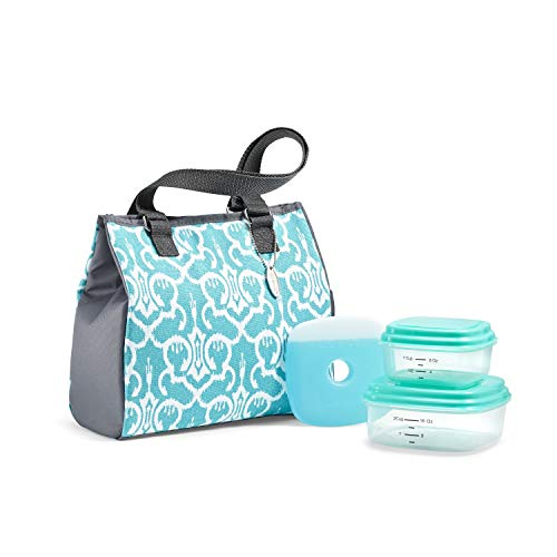 Fit & Fresh Geneva Lunch Bag Kit with BPA-Free Containers, Aquamarine Ikat Damask