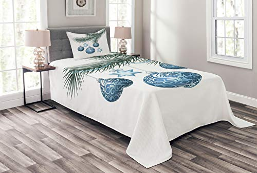- Ambesonne Heike Bedspread Set Twin Size, Christmas Balls on Spruce Branch with Star Ornaments and Floral Ball Snowflakes Image, 2 Piece Decorative Quilted Coverlet with 1 Pillow Sham, Blue Green