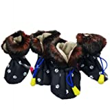 Fashion Faux Fur Non-Skid Dog Boots Dog Shoes Warm Dog Rain Boots Waterproof Dog Rain Shoes Pet Boots Free Shipping,See Black,#2, My Pet Supplies