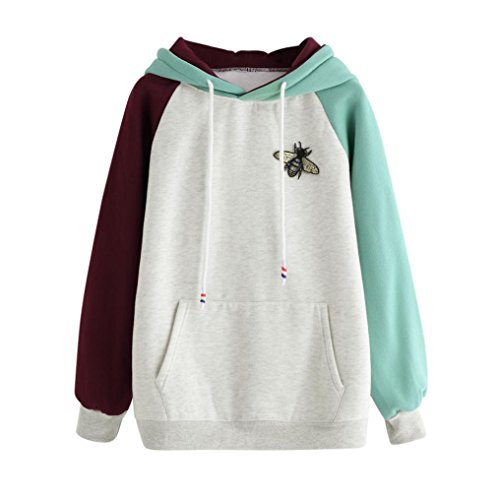 Goddessvan Womens Long Sleeve Honeybee Print Hoodie Sweatshirt Patchwork Hooded Pullover Tops Blouse (XL, Gray)